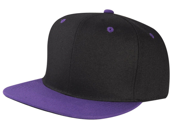 CNF4362J-2T - Junior 2 Tone Structured Polyester Flat Bill Snapback Plain Cap (BLK/PUR)