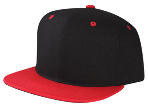 CNF4362-2T - 2 Tone Structured Polyester Flat Bill Snapback Plain Cap (BLK/RED)
