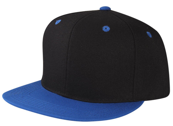 CNF4362-2T - 2 Tone Structured Polyester Flat Bill Snapback Plain Cap (BLK/ROY)