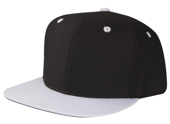 CNF4362-2T - 2 Tone Structured Polyester Flat Bill Snapback Plain Cap (BLK/WHT)