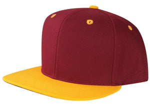 CNF4362-2T - 2 Tone Structured Polyester Flat Bill Snapback Plain Cap (BUR/GLD)