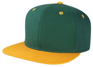 CNF4362-2T - 2 Tone Structured Polyester Flat Bill Snapback Plain Cap (DGN/GLD)