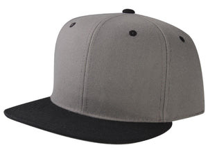 CNF4362-2T - 2 Tone Structured Polyester Flat Bill Snapback Plain Cap (DGY/BLK)