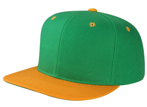 CNF4362-2T - 2 Tone Structured Polyester Flat Bill Snapback Plain Cap (KGN/GLD)