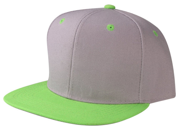 CNF4362-2T - 2 Tone Structured Polyester Flat Bill Snapback Plain Cap (LGY/LIM)