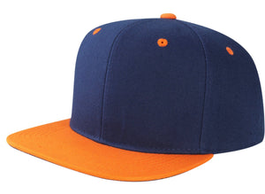 CNF4362-2T - 2 Tone Structured Polyester Flat Bill Snapback Plain Cap (NAV/GLD)