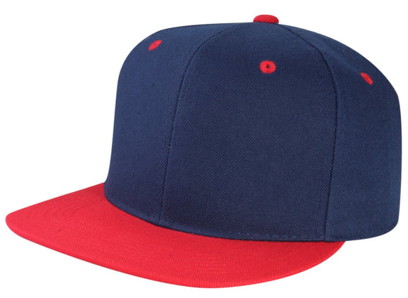 CNF4362-2T - 2 Tone Structured Polyester Flat Bill Snapback Plain Cap (NAV/RED)
