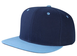 CNF4362-2T - 2 Tone Structured Polyester Flat Bill Snapback Plain Cap (NAV/SKY)