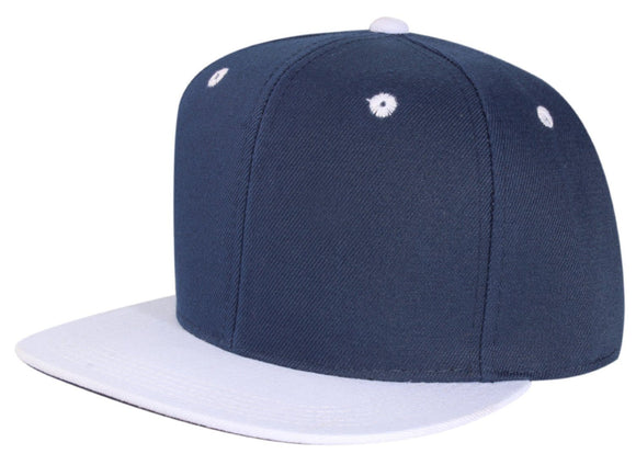 CNF4362-2T - 2 Tone Structured Polyester Flat Bill Snapback Plain Cap (NAV/WHT)