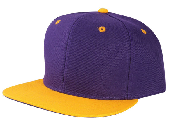 CNF4362-2T - 2 Tone Structured Polyester Flat Bill Snapback Plain Cap (PUR/GLD)