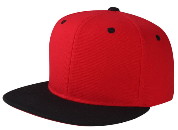 CNF4362-2T - 2 Tone Structured Polyester Flat Bill Snapback Plain Cap (RED/BLK)