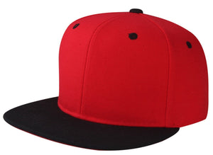 CNF4362J-2T - Junior 2 Tone Structured Polyester Flat Bill Snapback Plain Cap (RED/BLK)