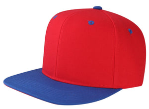 CNF4362-2T - 2 Tone Structured Polyester Flat Bill Snapback Plain Cap (RED/ROY)