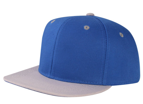 CNF4362-2T - 2 Tone Structured Polyester Flat Bill Snapback Plain Cap (ROY/LGY)