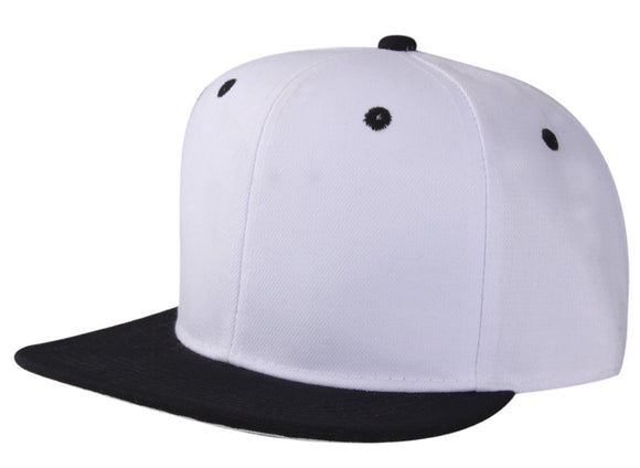 CNF4362-2T - 2 Tone Structured Polyester Flat Bill Snapback Plain Cap (WHT/BLK)