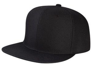 CNF4362J-2T - Junior 2 Tone Structured Polyester Flat Bill Snapback Plain Cap (BLK/BLK)