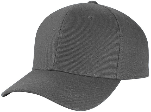 Y4364- 6 Panel Structured 100% Polyester Fitted Baseball Cap (DGY)