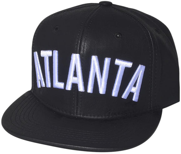 N21ATL39- Structured PU Leather Embroidered Atlanta Full Name Logo Designed Snapback