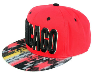 N21CHI12- Structured Chicago Logo With Tribal Design Brim Snapback