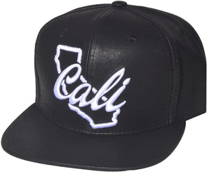 N21CAL49-2T- 2 Tone Structured PU Leather Cali Short Name With Map Logo Designed Snapback