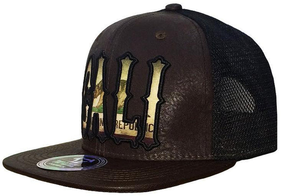 N21CAL38-2T- 2 Tone Structured Leather Brim Mesh Back Cali Short Name Logo Designed Snapback