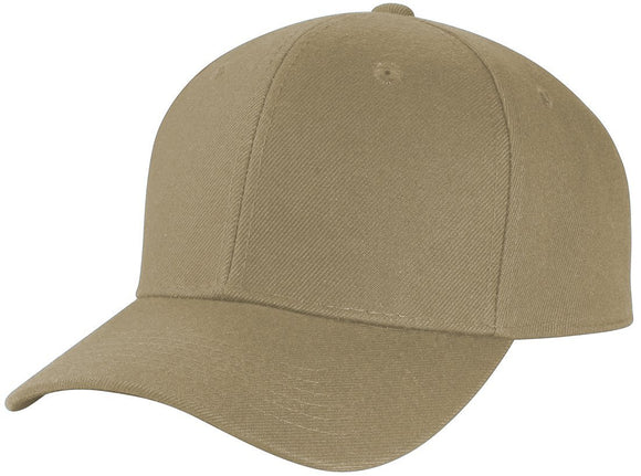Y4364- 6 Panel Structured 100% Polyester Fitted Baseball Cap (KHK)