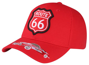 M03ROU01- Route 66 With Fancy Car Logo Embroidered Mexico Design Baseball Cap