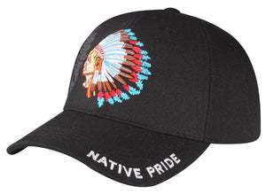M11IND10- Chief Indian Native Pride Logo Embroidered Design Baseball Cap
