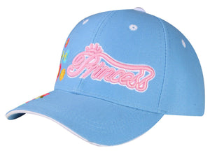 M54PRI05- Junior Princess With Brim Embroidered Flower Printed Cotton Baseball Cap