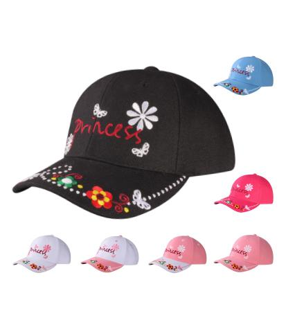 M54PRI06- Princess with Crown and Brim Flower Embroidered Polyester Junior Baseball Cap