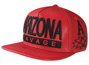 N21ARI48- Structured PU Leather Arizona Savage Logo Designed Snapback