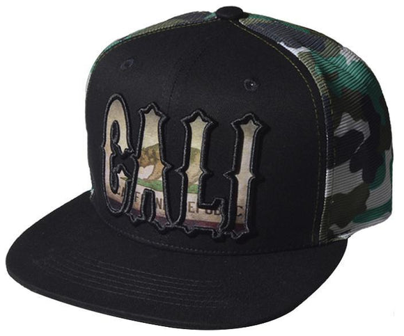 N21CAL32-2T- 2 Tone Structured Cali Short Name Logo Designed With Camo Pattern Mesh Snapback