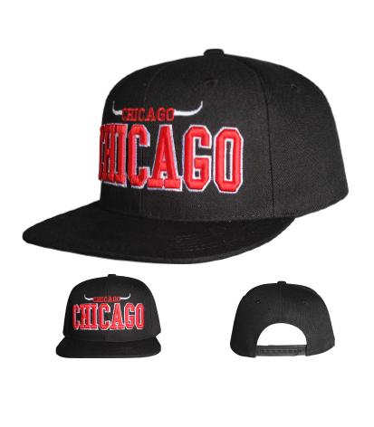 N21CHI02-2T- 2 Tone Structured Cotton Chicago Horn Flat Bill Logo Designed Snapback