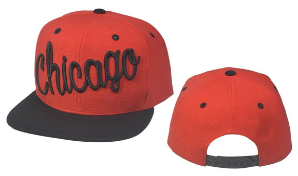 N21CHI27-2 Tone Structured Cotton Chicago Full Name Logo Snapback