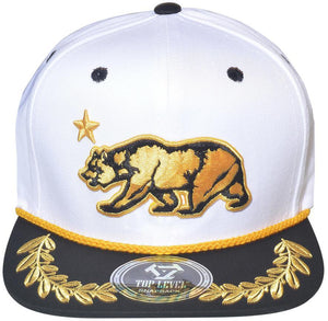 N21CRE27- Structured Cotton Golden Bear Logo Designed Snapback