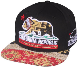 N21CRE32- Structured Cotton California Republic Indian Bear Logo Designed Snapback