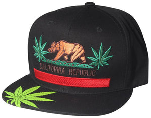 N21CRE37- Structured Cotton California Republic Weed Logo Designed Flat Bill Snapback