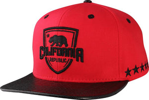 N21CRE69- Structured Cotton California Republic Logo With PU Glossy Brim Snapback