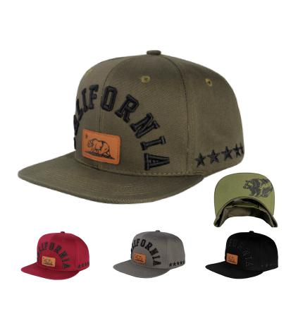 N21CRE71- Structured Cotton California Full Name With Logo Patch Bear Snapback