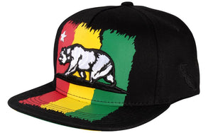 N21CRE72- 5 Panel Structured Cotton Stripe California Bear Logo Designed Snapback