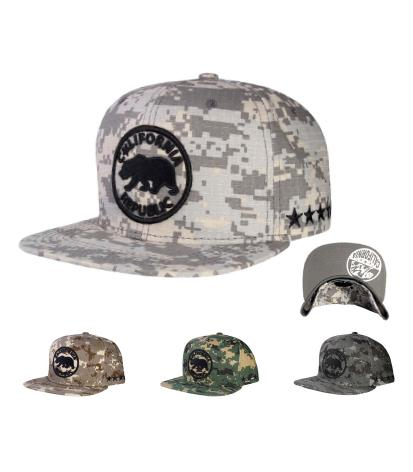 N21CRE73- Structured Camo Cotton California Republic With Side Panel Star Logo Designed Snapback