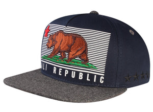 N21CRE78- 5 Panel Structured Cotton Cali Republic Logo With Side Panel Star Designed Snapback