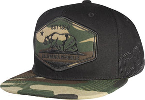 N21CRE80-Structured Cotton California Republic Logo With Camouflage Brim Designed Snapback
