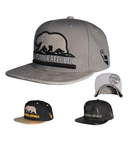 N21CRE88- Structured California Republic Leather Style Snapback