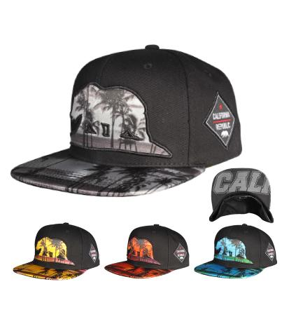 N21CRE89- Structured Cali Bear With Palm Tree Logo Snapback
