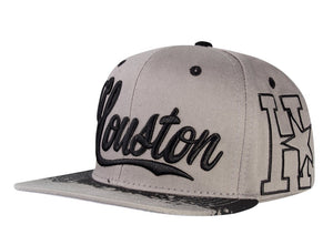 N21HOU49- Structured Cotton Houston Full Name Logo With Side Panel Designed Snapback