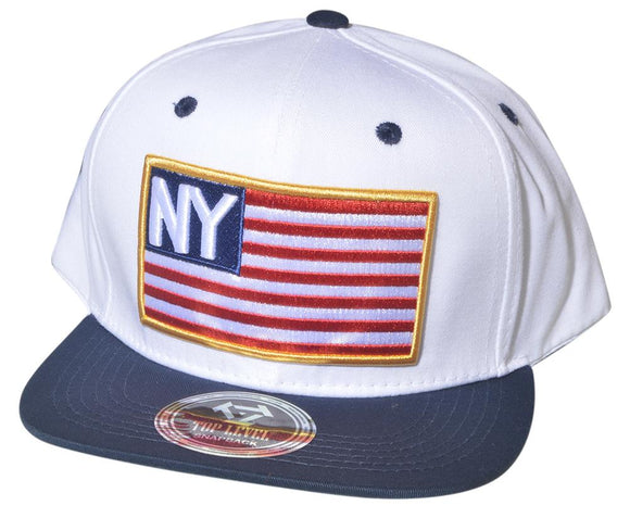 N21INY36- 2 Tone Structured Cotton New York With US Flag Logo Designed Snapback