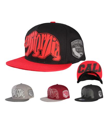 N31CRE38- 2 Tone 5 Panel Structured Cotton California Typhography Bear Logo Designed Snapback
