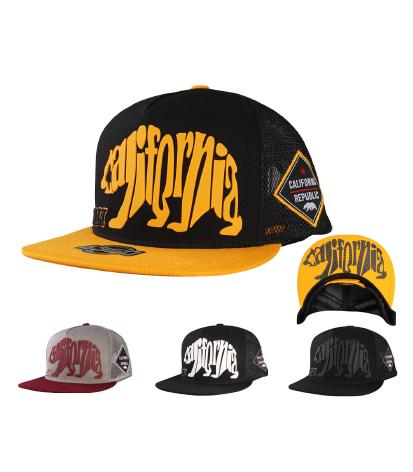 N31CRE40- 2 Tone 5 Panel Structured Mesh California Typhography Bear Logo Designed Snapback