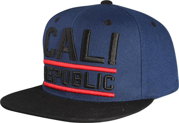 N41CAL01- 2 Tone Structured Cotton Underlined Cali Republic Logo Desgined Snapback